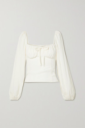 Reformation + Net Sustain Prince Shirred Georgette Top - Ivory