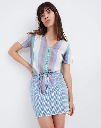 Madewell Novel Tie-Front Button Top in Flagstaff Stripe