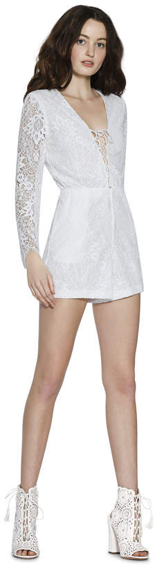 Alice + Olivia Clarkson Lace Up Romper