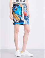 Moschino Ladies Red Printed Concealed zip Shell Mini Skirt
