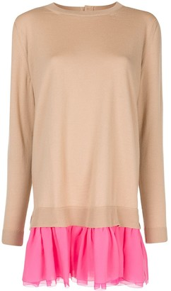 DELPOZO Ruffled-Skirt Knit Jumper