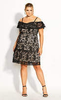 City Chic Dream Of Lace Dress - black