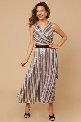 Little Mistress Parker Sequin Stripe Midi Skirt Co-ord