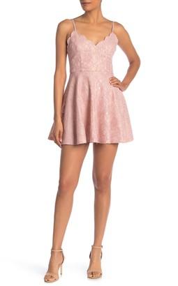 Rowa Scalloped Lace Fit & Flare Mini Dress