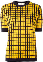 Marni check pattern knitted top - men - Cotton/Polyamide - 48