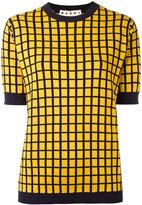 Marni check pattern knitted top - men - Cotton/Polyamide - 50