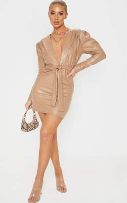 PrettyLittleThing Stone PU Plunge Long Sleeve Tie Detail Bodycon Dress