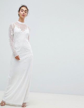 Hope & Ivy Dotty Mesh Maxi Bridal Dress With Embroidery And High Neck Detail-White
