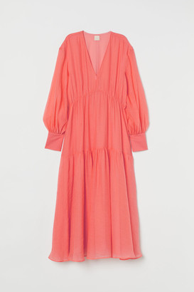H&M Long Lyocell-blend Dress - Red