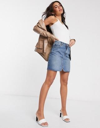 Asos Design DESIGN denim pelmet skirt in midwash blue
