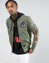 Alpha Industries Ma-1 Tt Patch Ii Bomber Jacket In Green