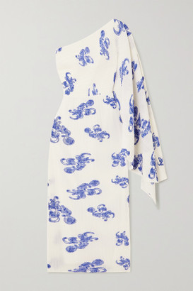 SOLACE London Lila One-shoulder Printed Plisse-crepe Midi Dress - Blue