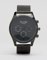 Reclaimed Vintage Inspired Chronograph Mesh Strap Watch In Black