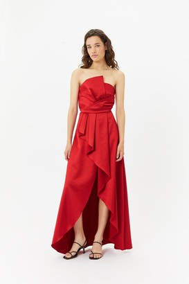 Coast Structured Ruffle Hi Low Maxi Dress