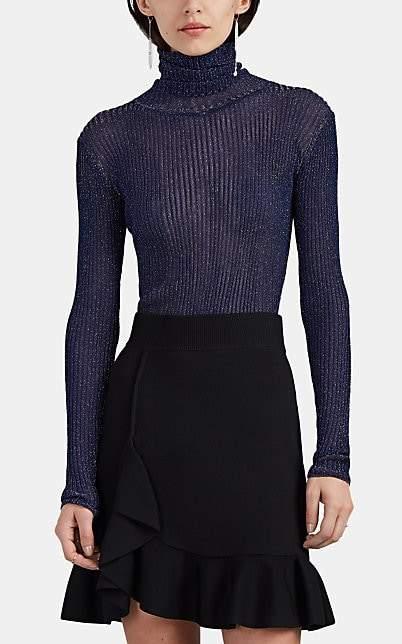 Altuzarra Women's Bryan Metallic Rib-Knit Turtleneck Sweater - Navy
