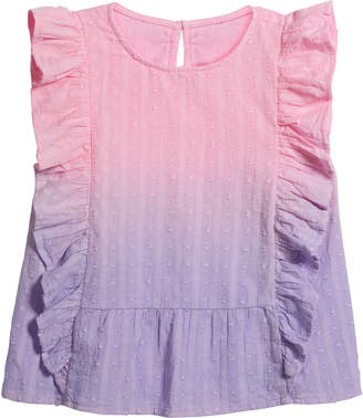 Design History Girls Girl's Dip Dye Clip-Dot Sleeveless Ruffle Top, Size 6X-6