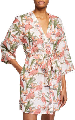 The Lazy Poet Lola Flamingo-Print Wrap Robe
