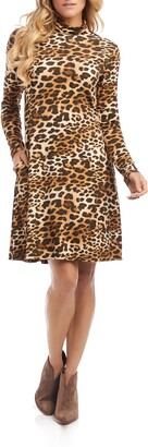 Karen Kane Quinn Leopard Print Long Sleeve Turtleneck Dress