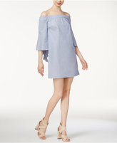 Kensie Oxford Cotton Off-The-Shoulder Dress