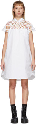 Sacai White Mesh Panel Dress