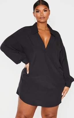 PrettyLittleThing Plus Black V Neck Plunge Shift Dress