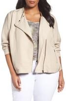Sejour Plus Size Women's Linen Blend Moto Jacket