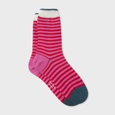 Paul Smith Women's Pink And Red Striped Socks
