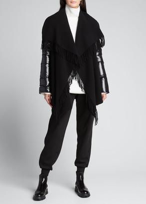 Moncler Mantella Down-Sleeve Wool Fringe Poncho