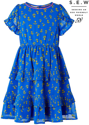 Monsoon Aria Tulip Print Tiered Dress in Recycled Polyester Blue