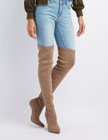 Charlotte Russe Lucite Heel Over-The-Knee Boots