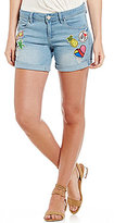 YMI Jeanswear Patchwork Roll Cuff Destructed Stretch Denim Shorts
