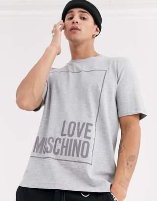 Love Moschino relfective box logo t-shirt-Grey