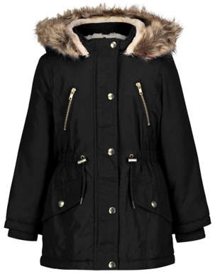 George Black Faux Fur Shower Resistant Parka