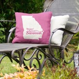 "Indoor/Outdoor Throw Pillow East Urban Home Color: Pink, Size: 16"" x 16"", City: Savannah"