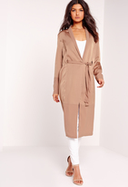 Missguided Petite Two Tone Satin Duster Jacket Camel