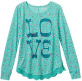 Mudd Girls 7-16 & Plus Size Crochet Scalloped Graphic Tee