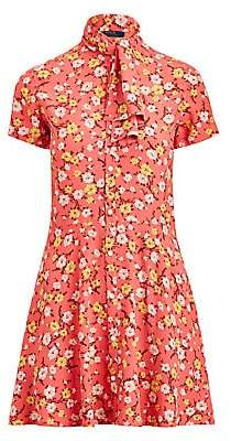 Polo Ralph Lauren Women's Floral Tieneck Short-Sleeve Shirtdress