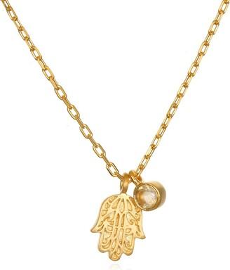 Satya Jewelry Citrine Gold Hamsa Pendant Necklace 18-Inch