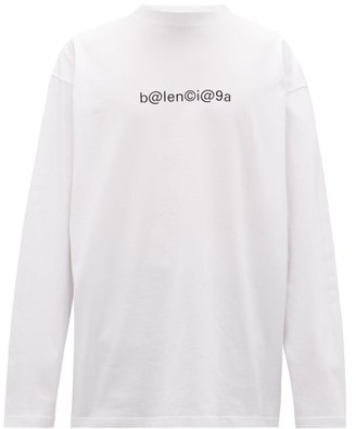 Balenciaga Oversized Logo-print Cotton Long-sleeved T-shirt - White Black
