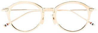 Thom Browne Eyewear Gold Optical Glasses With Clear Lens