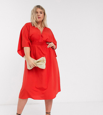Vero Moda Curve midi dress with kimono sleeve n red