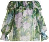 Dolce & Gabbana Hydrangea-print silk-chiffon top