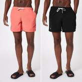 River Island Mens Black and coral swim trunks pack