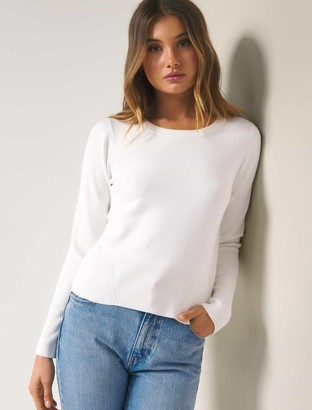 Forever New Paige Rib Trim Crew Neck Jumper - Porcelain - l