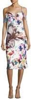 Black Halo Lola Cold-Shoulder Abstract Sheath Dress, Butterfly Garden