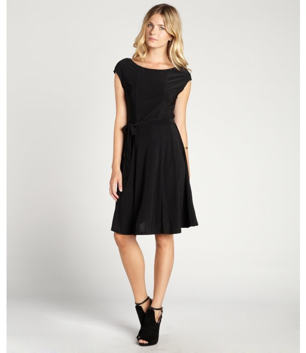 Ellen Tracy black stretch knit tie waist a-line fit and flare dress