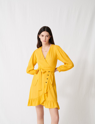 Maje Sunny yellow wrap tie dress