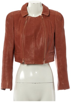 Carven Brown Leather Jacket for Women