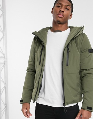 Solid quilted jacket with funnel neck in green-Black
