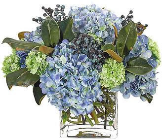 """17"""" Hydrangea Snowball in Cube Vase - Faux - NDI - arrangement, blue; vessel, clear"""